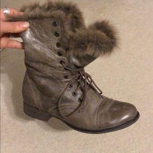 STEVE Madden Furry Combat Boot